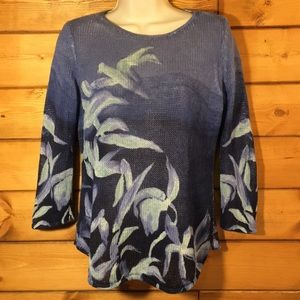 Chico's | Blue Floral 3/4 Length Sweater S
